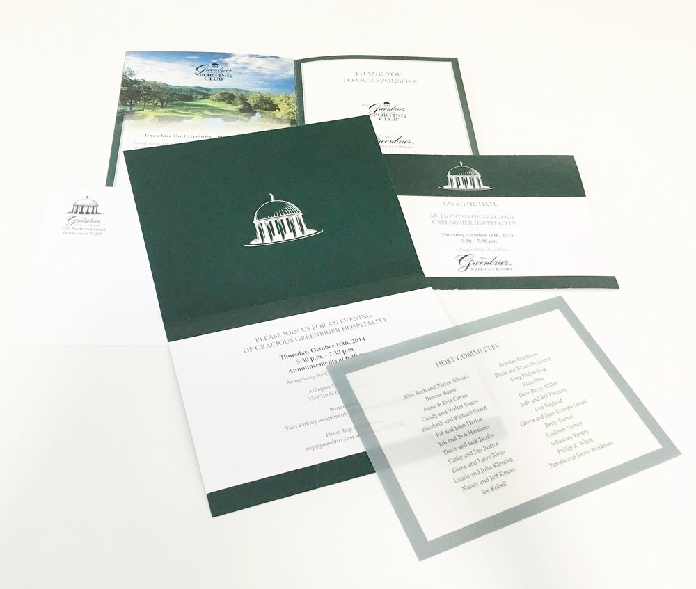 Marketing materials Dala helped create, celebrating the launch of The Greenbrier Sporting Club in West Virginia