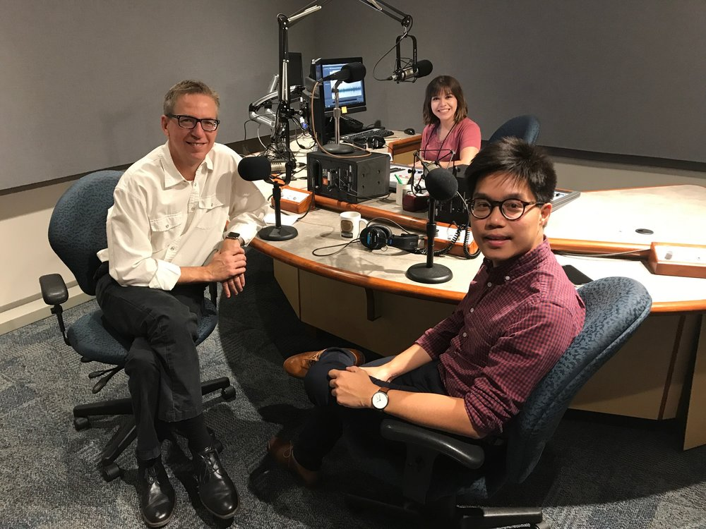 AECOM's Steven Duong poses with KERA's Rick Holter and Krystina Martinez after taping a segment
