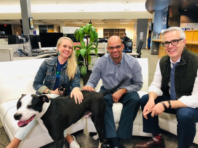 Leslie Sans, executive director for Dallas Pets Alive, Ed Jamison, director of Dallas Animal Services and David Schechter before the Facebook Live video started.