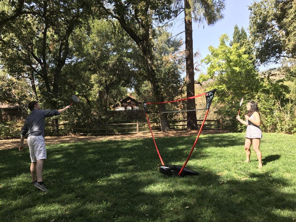 Ryan and Adina --badminton in the park.
