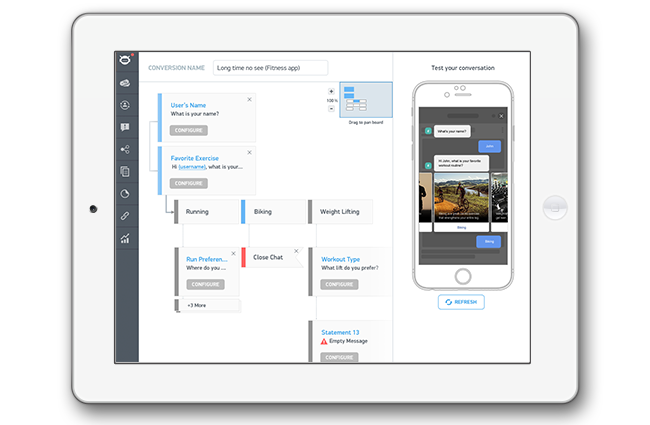 No Technical Experience Required - Whether you're a Marketing Manager or a summer intern, Instabot is user friendly and easy to build, manage, and edit.Once built and designed, you can determine how you want Instabot to launch. You can deploy the chatbot based on user behavior:on 30 second delay, button push, or when someone taps the back button.