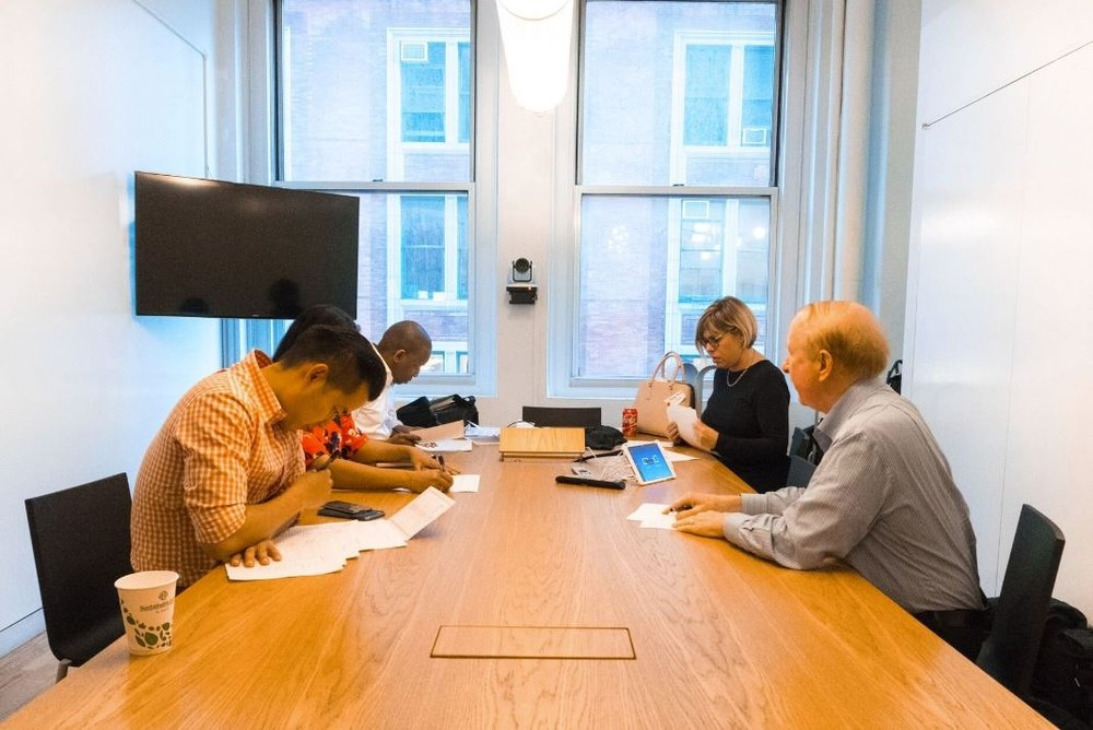 """#AppIdeaAwards BTS: Our judges deliberating in the war room...@HLMOrgan, @Parulia, @appetiteforgood, @nycbabylon, @Aholidayiii"""
