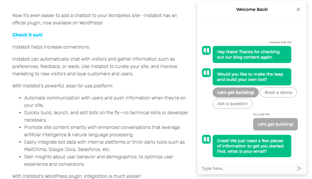 """Welcome Back"" chatbot shown to returning visitors"