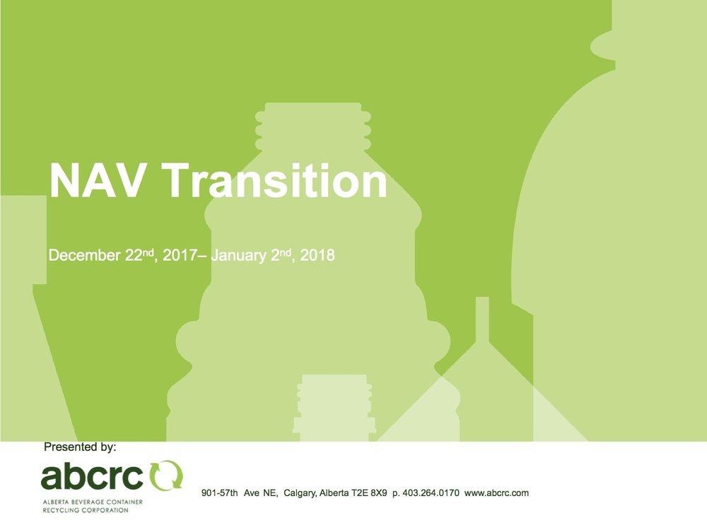 Colin Carter -VP Operations ABCRC  NAV Transition Presentation