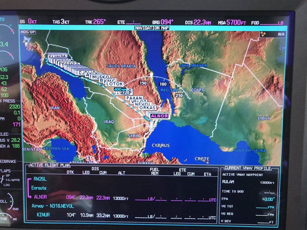 Amman, Jordan to Dubai, UAE World Speed Record set!  Down the Persian Gulf 2 miles outside of Iranian airspace.