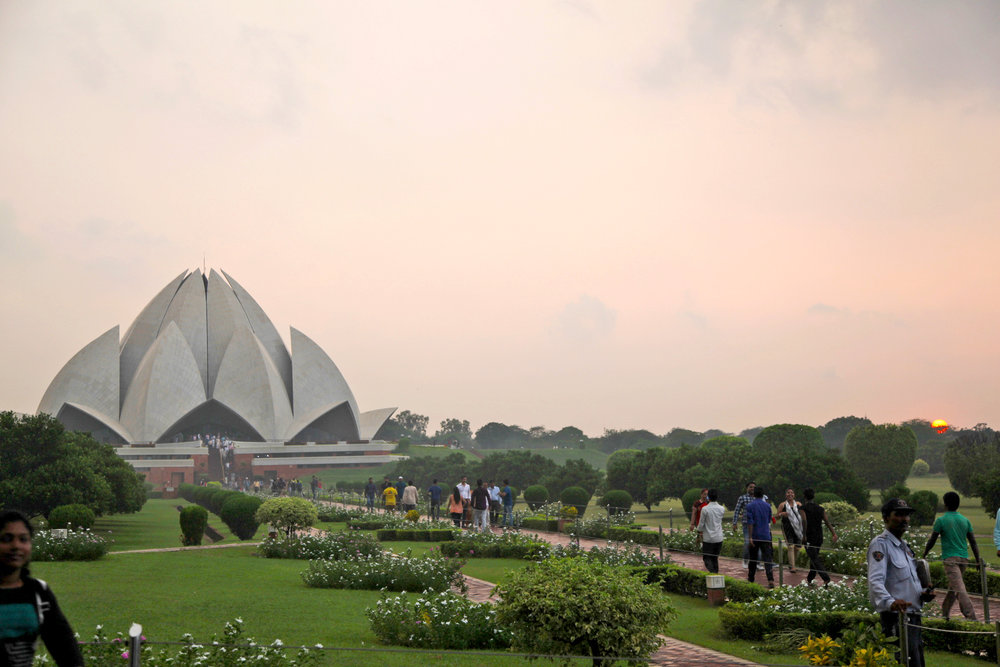 The Lotus Temple as we approach at sunset.