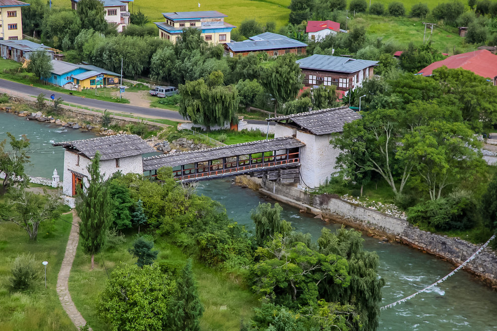 The walking bridge over the river, Paro valley.