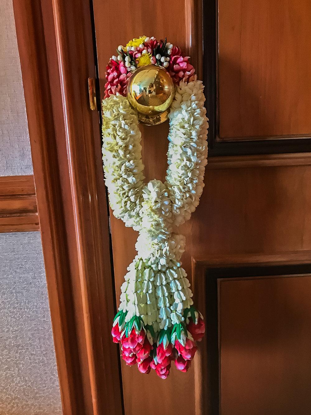The welcoming flower creation in Bangkok.