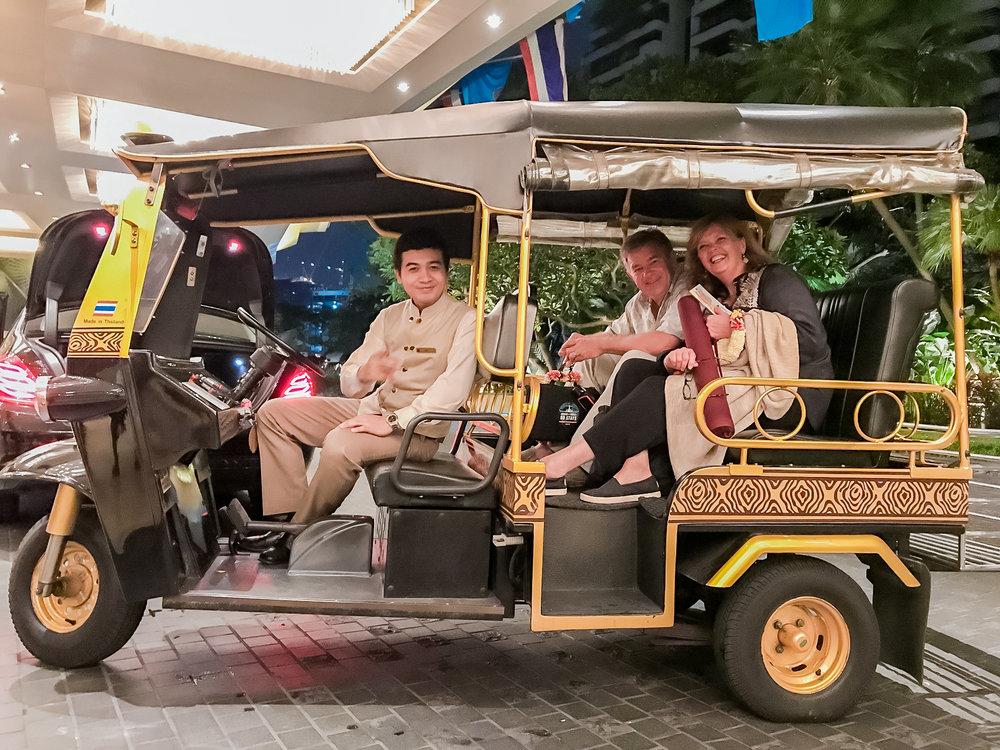 Arriving at the Shangri La in Bangkok.