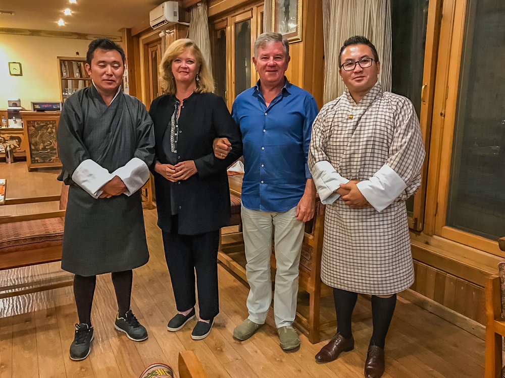 After dinner with Dorji and Chencho in Thimphu, Bhutan.