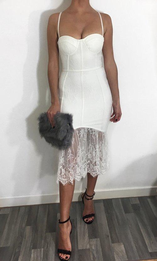 0264a5e80f8f Exclusive- White Lace Fishtail Bandage Dress — Azelle Collection