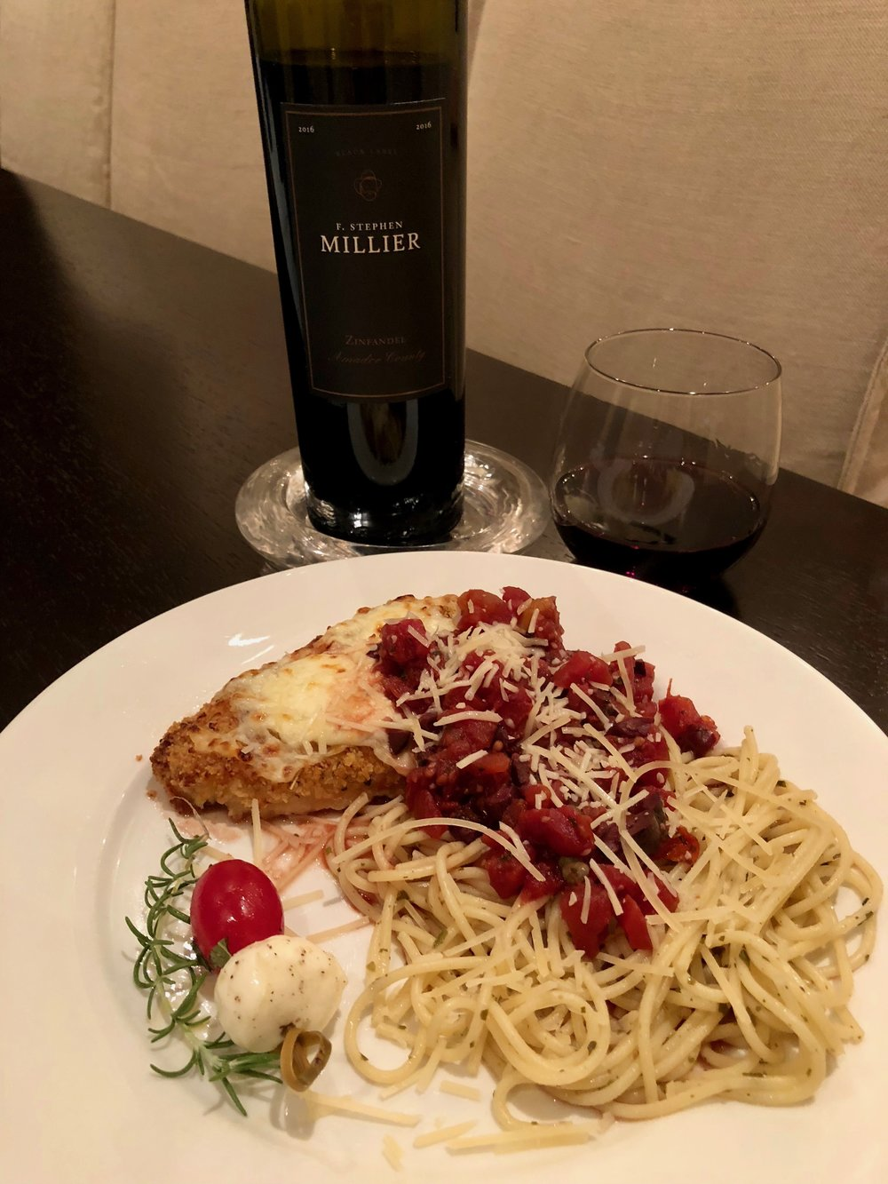- F. Stephen Millier Black Label Zinfandel Amador County 2016 is initially dark fruit-forward but tannins balance it well so it ends up pairing nicely with our spicy Puttanesca Sauce. Message us if you want this awesome family recipe!List $24 Angel Price $14