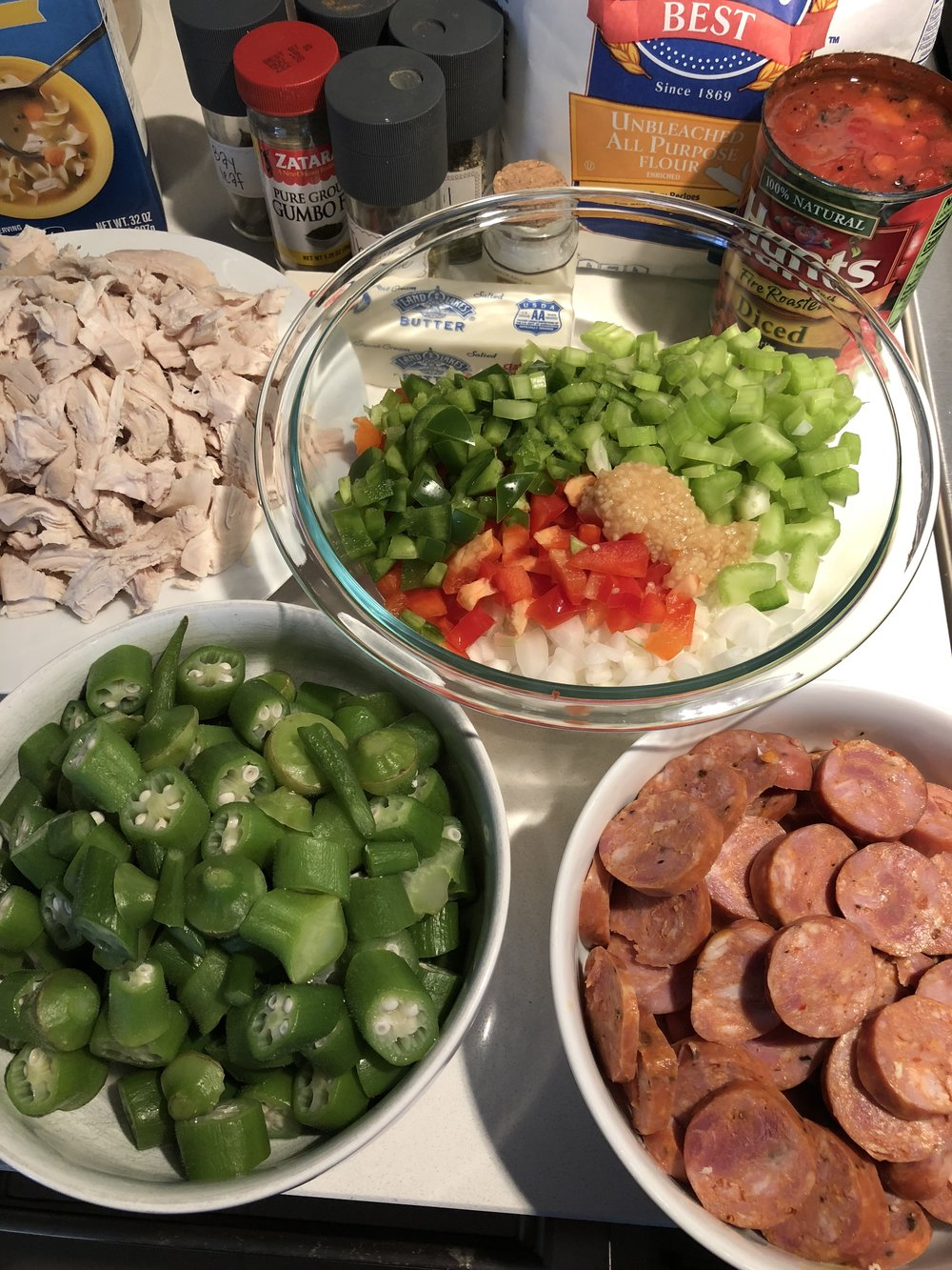 Allow about an hour to prep all the gumbo ingredients