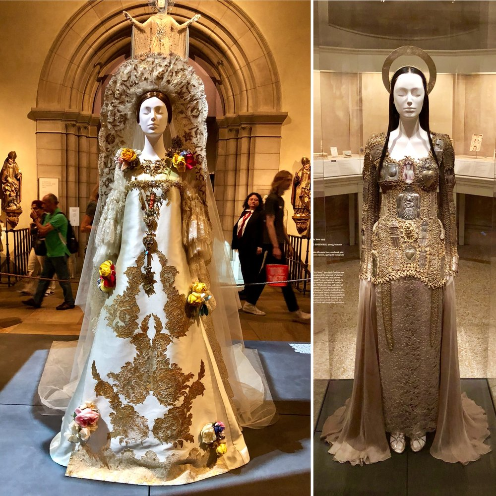 Metropolitan Museum of Art  - Heavenly Bodies: Fashion and the Catholic Imagination. In the Medieval Europe Gallery. On the left is a Wedding Ensemble by Christian Lacroix and on the right is the Ex-Voto Evening Ensemble by Jean-Paul Gaultier.