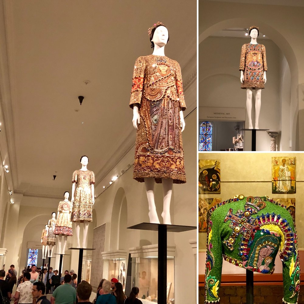 In the Byzantine Gallery with Dolce & Gabbana and Versace designs inspired by sacred places, stained glass windows and religious artifacts.