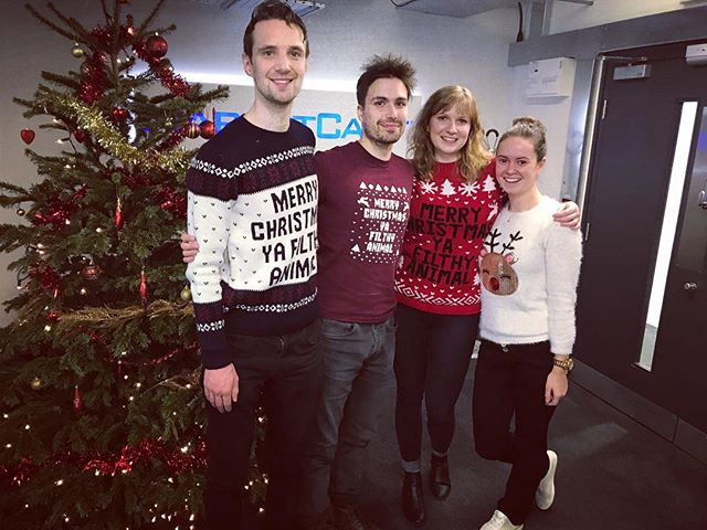 The odds of 3 people showing up in our UK office in the same Christmas jumper?! #whataretheodds #marketcastUK  #triplets #plusareindeer!