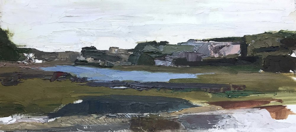 Newport Back Bay - 10 x 20 inches - Oil on Canvas Board - 2015