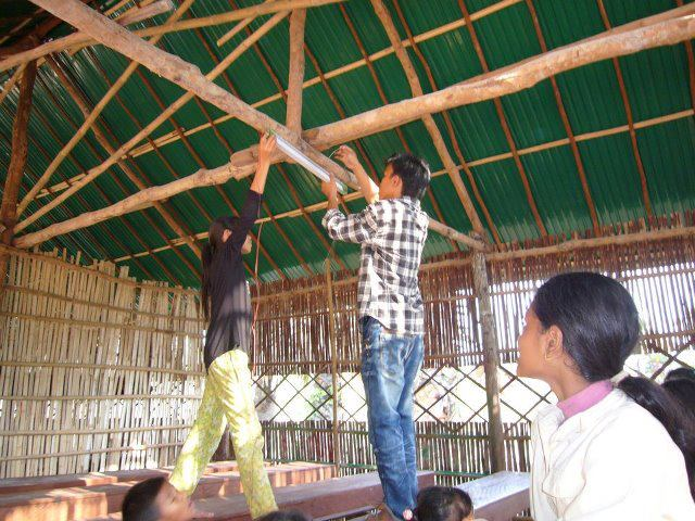 Installing Lights In Samrong School