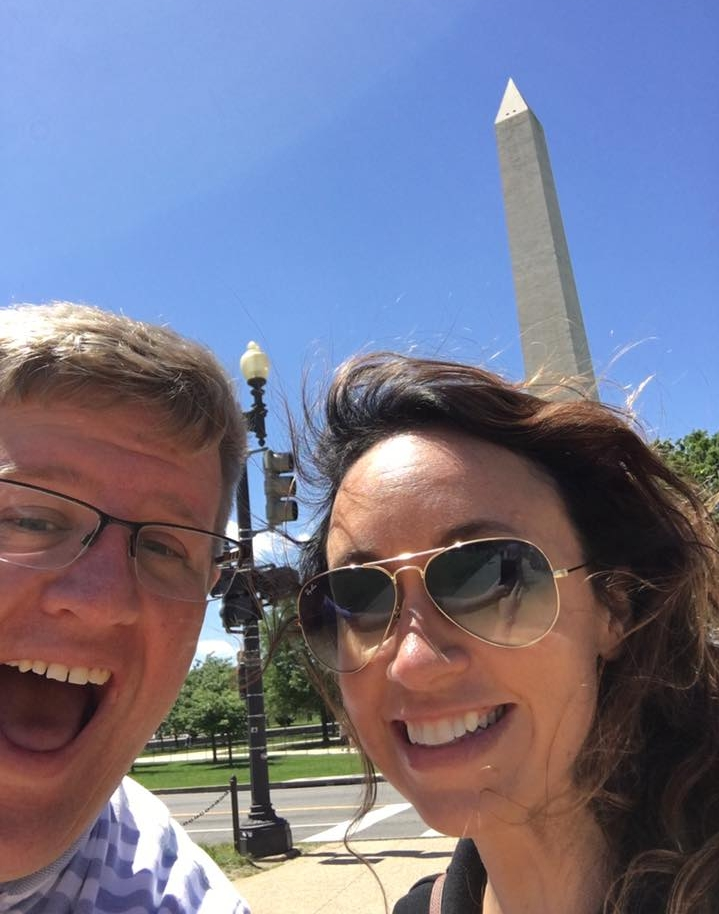 D.C. - Jenny and a giant monument to the freedom of mankind. Also in the photo: a stone obelisk named after some dude (2017).