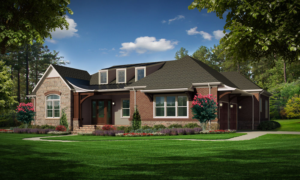 "C Option (Brick)  Total SF 3743 sq. ft. Total SF heated 2569 sq. ft. Bedrooms 3 Bathrooms 3 Width: 75' Depth: 63'-3"" Attached two-car garage Porches: Covered front porch, Covered back porch"