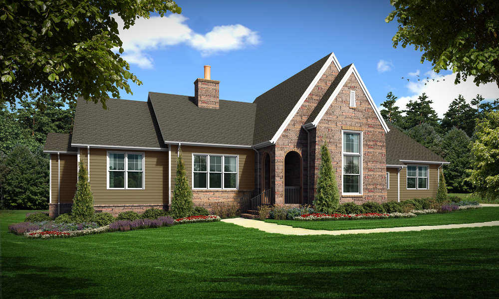 """Option B (Siding)  Total SF 4354 sq. ft. Total SF heated 2994 sq. ft. Bedrooms 3 Bathrooms 3.5  Width: 87'-6"""" Depth: 67'-6"""" Attached two-car garage Covered back porch"""