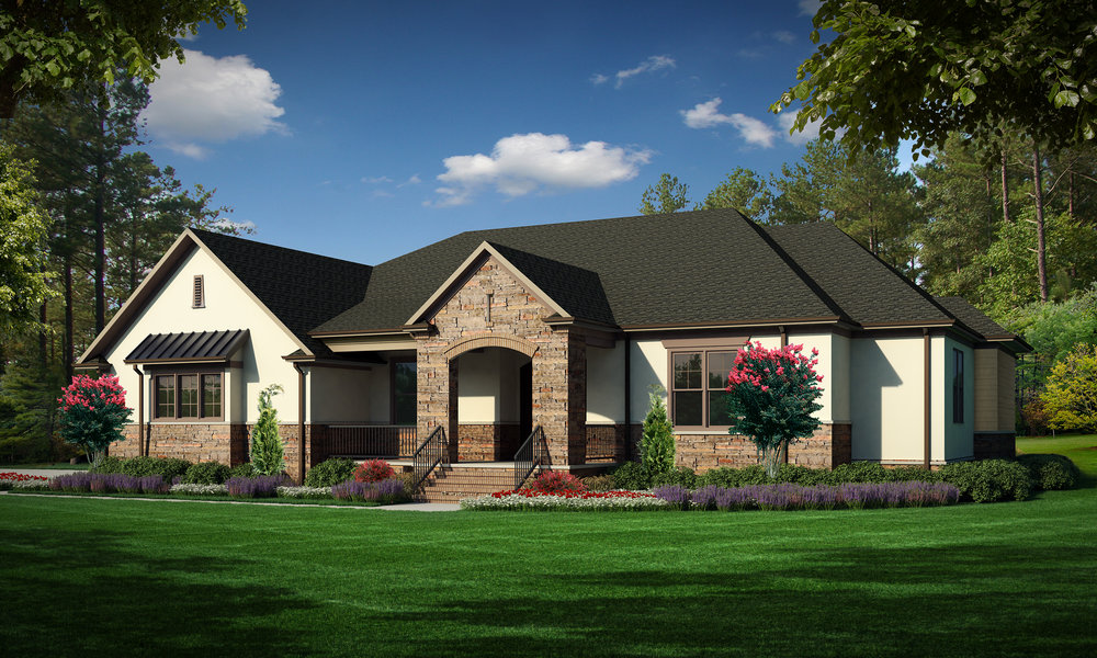 "Option A (Stucco)  Total SF 5033 sq. ft. Total SF heated 3356 sq. ft. Bedrooms 4 Bathrooms 3.5 Width: 78'-0"" Depth: 83'-0"" Attached three-car garage Bonus Room Rear covered porch Front covered porch"