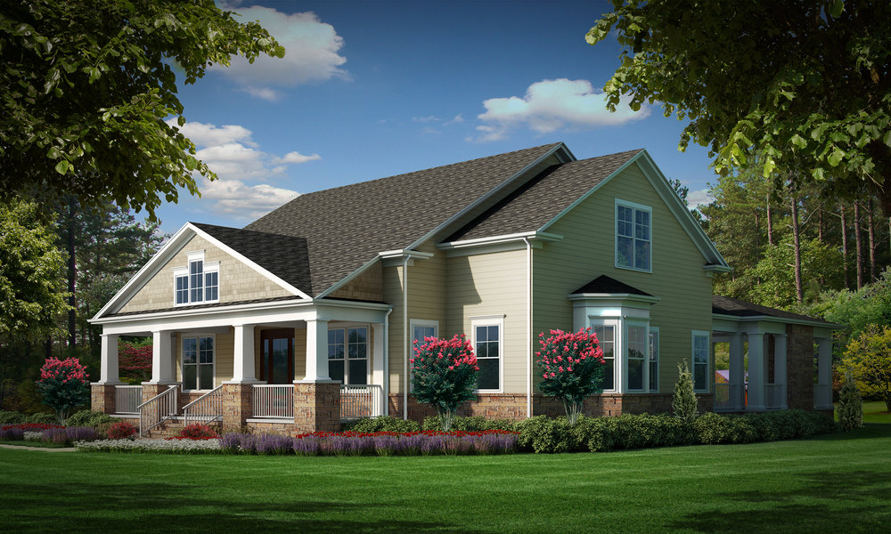"""Option B (Siding)  Total SF 6042 sq. ft. Total SF heated 4093 sq. ft. Bedrooms 4 Bathrooms 4.5 Width: 77'-9"""" Depth: 77'-0"""" Attached three-car garage Bonus room Front covered porch Rear covered porch"""
