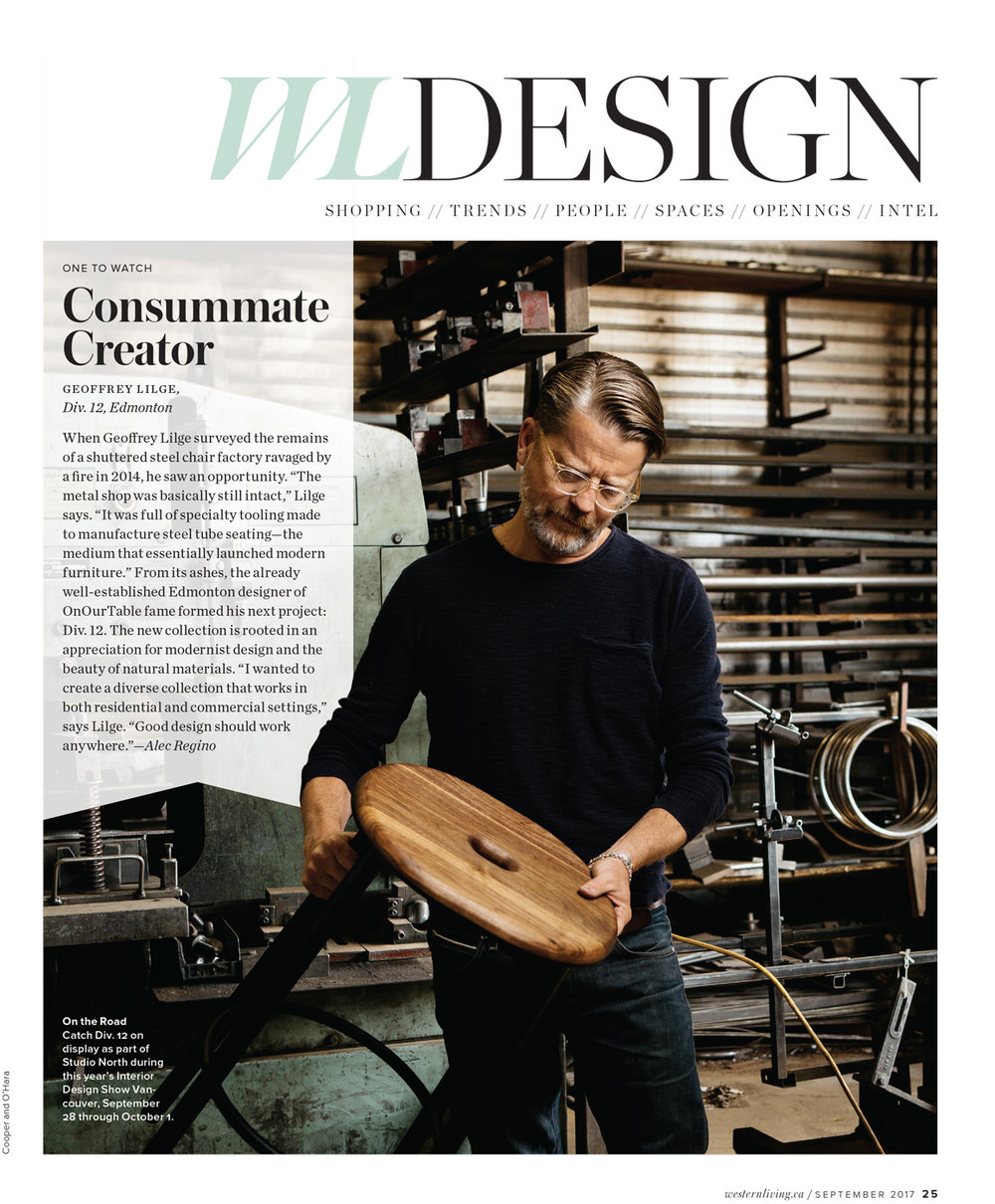 We love photographing designers, makers, and craftspeople. Geoff was no exception, his work is really beautiful and his shop reclaimed from an old burnt out office chair company office/fabrication building was a really cool backdrop for this story in WesternLiving.