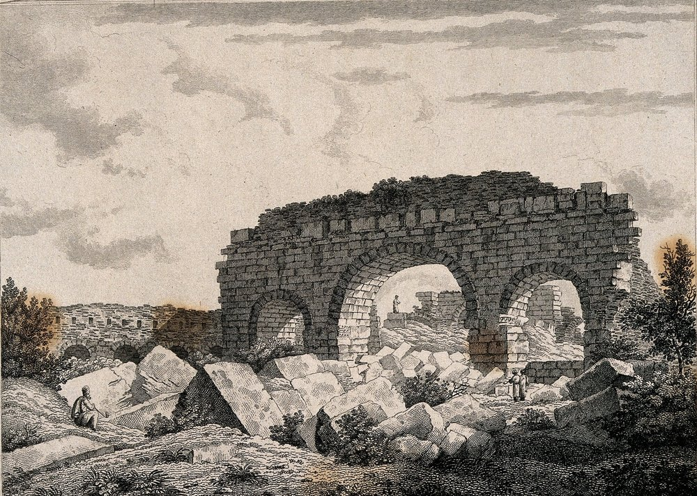Splendid remains of public baths at Alexandria | Letita Byrne (1812) Etching