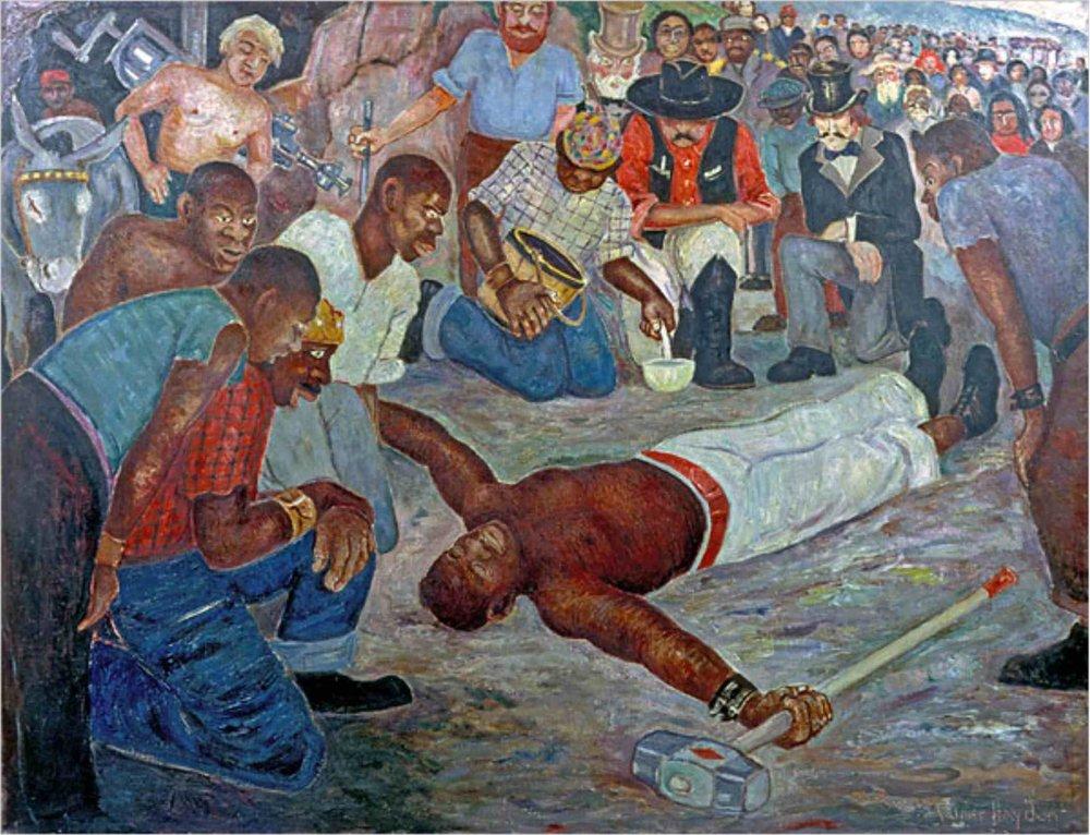 John Henry lies dead after beating the steam drill  | Palmer C. Hayden (Circa 1944)
