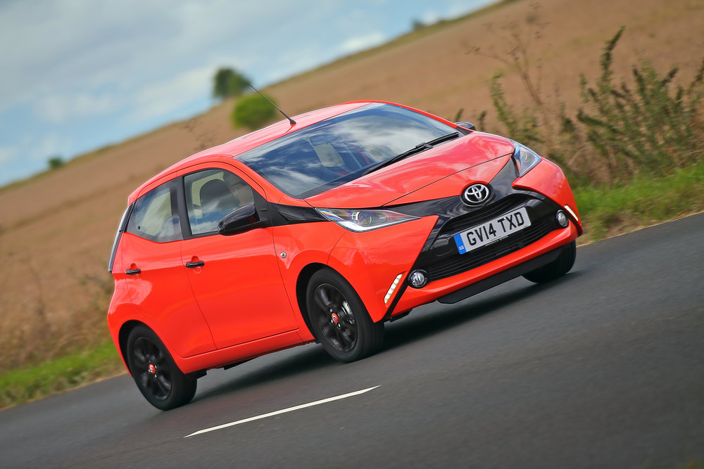 Toyota Aygo   The Toyota Aygo is available with lots of high-tech safety kit. Funky styling and low running costs make the Aygo a desirable and sensible first car.