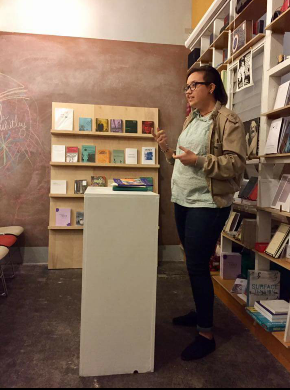 @ Bodies in Spaces Forced to Accommodate reading at the Poetic Research Bureau in Chinatown, Los Angeles, CA 3.17.17 Photo by:  Kimberly AlidioSison