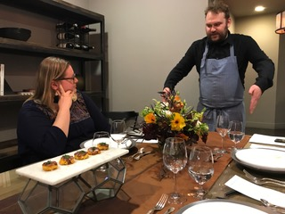 Marianne putting her culinary expertise to work at a client's menu tasting.