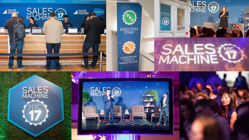 Signage comes in all shapes and sizes; from standalone wayfinding signs and stage backdrops to event logos that light the way to the big stage. Sales Machine NYC, hosted by Saleshacker, definitely didn't shy away from branding the event space with plenty of signage opportunities.