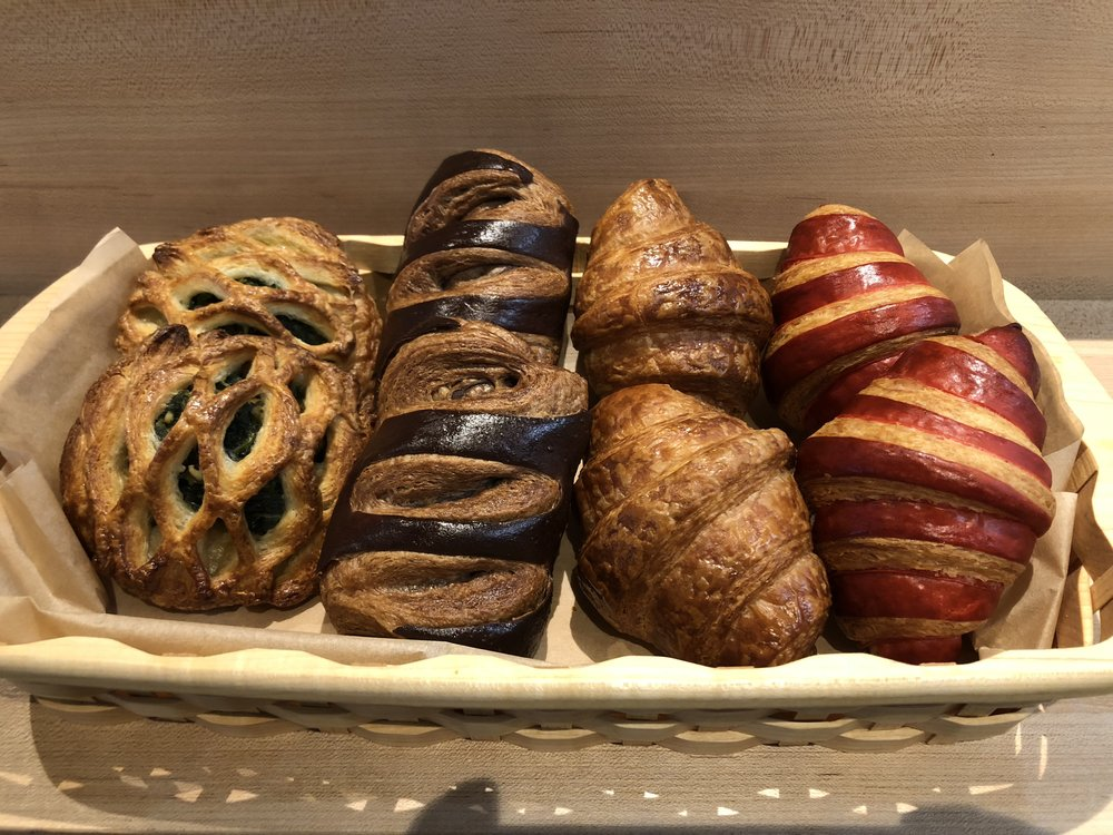 From left to right, spinach-feta, chocolate, butter, and vanilla-rhubarb croissant.