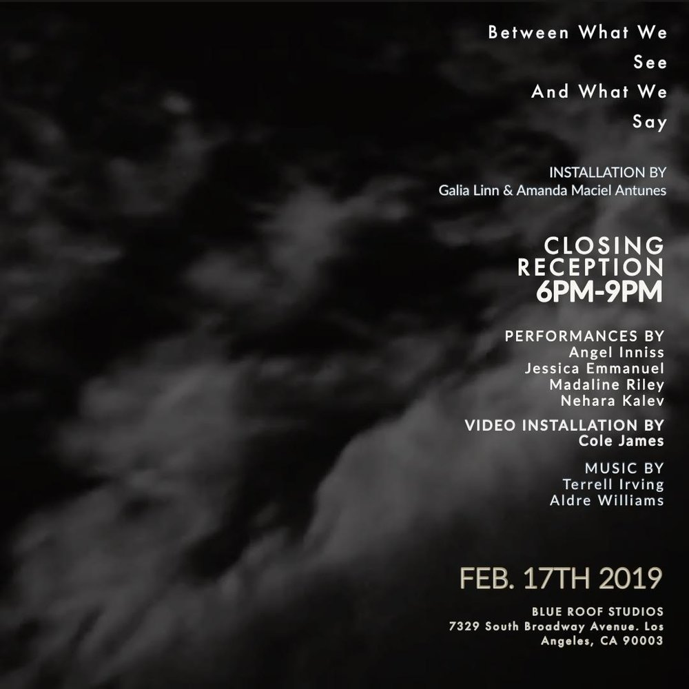 February 17th, 2019   CLOSING RECEPTION // Between What We See and What We Say    A multidisciplinary installation and performance conceived and produced in collaboration between    Amanda Maciel Antunes    and    Galia Linn  .  We will be joined by Los Angeles-based artists who will be performing and activating this immersive installation and its surroundings throughout the evening.  PERFORMERS AND ARTISTS:  Angel Inniss    Jessica Emmanuel    Madaline Riley    Nehara Kalev    Video Installation by   Cole Jupiter James    Musical reception by  Terrel Irving  and     Aldre Williams