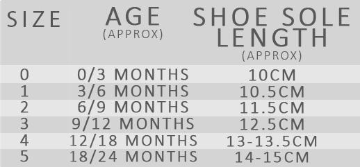 Wingtip Shoe Size Chart