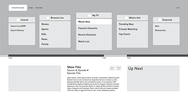 Fanhattan Live TV Wireframes