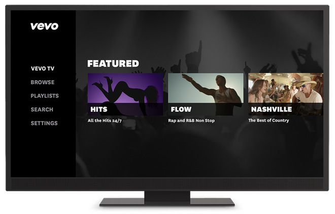 After launching the app, the user lands on Vevo TV