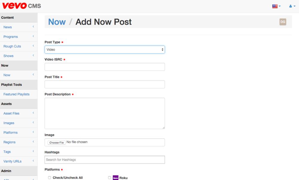 Original Post Creation on Vevo CMS 1.0