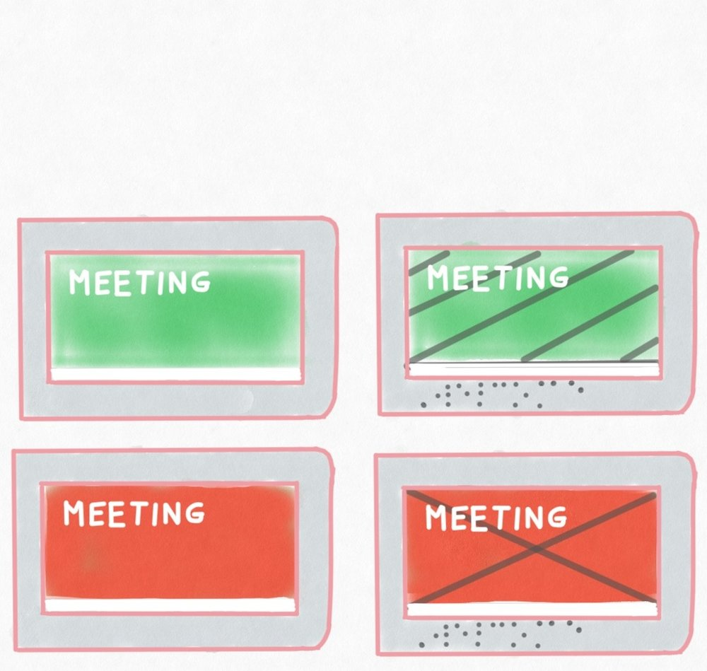 Adding typical UX standards for color - blindness accommodation is easy!  Also adding Braille will help your meeting rooms feel more welcoming for blind users.  Yes, it's a legal requirement, but often one people get wrong and don't update often.