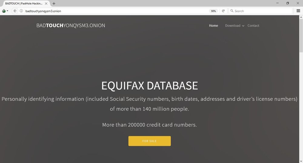 A dark web landing page advertising the sale of Equifax consumer records