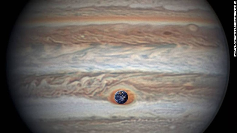 In perspective: The sizes of Earth and Jupiter. Image credit: NASA/JPL-Caltech/SwRI/MSSS/Betsy Asher Hall/Gervasio Robles