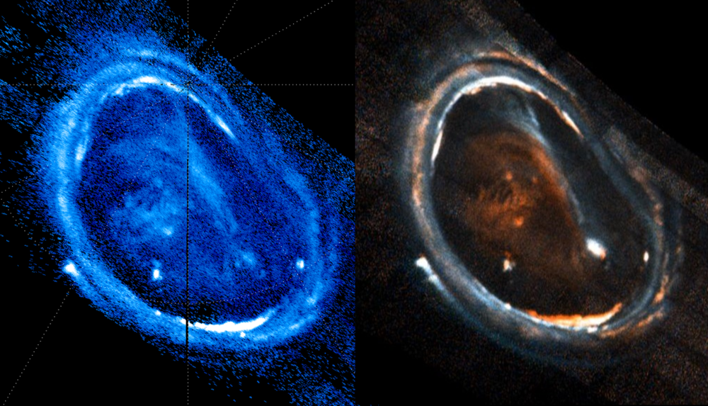 Images of Jupiter's northern aurora captured on December 11th, 2016 by Juno. Colors capture intensity.Credit: G. Randy Gladstone (right image) and co-author Bertrand Bonfond (left image)