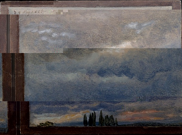 A public domain painting by artist Johan-Christian-Dahl , and manipulated with a glitch editor.