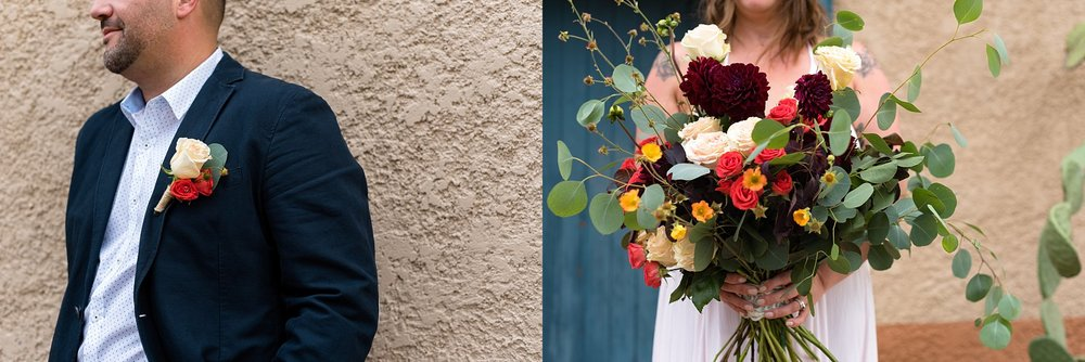 Sarah created such an organic set of florals for this shoot featuring maroon, coral, yellow, and white flowers. She used a chicken wire method to hold it all together without it being too structured.