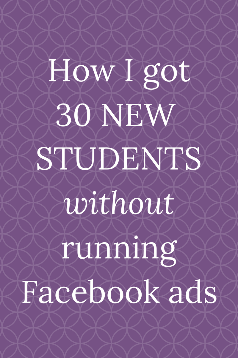 I launched my very first Facebook ads course and had 30 students join within a week. Ironically, I didn't do any of my own Facebook ads to get these students signed up! Learn about the free strategies that I used on my blog!