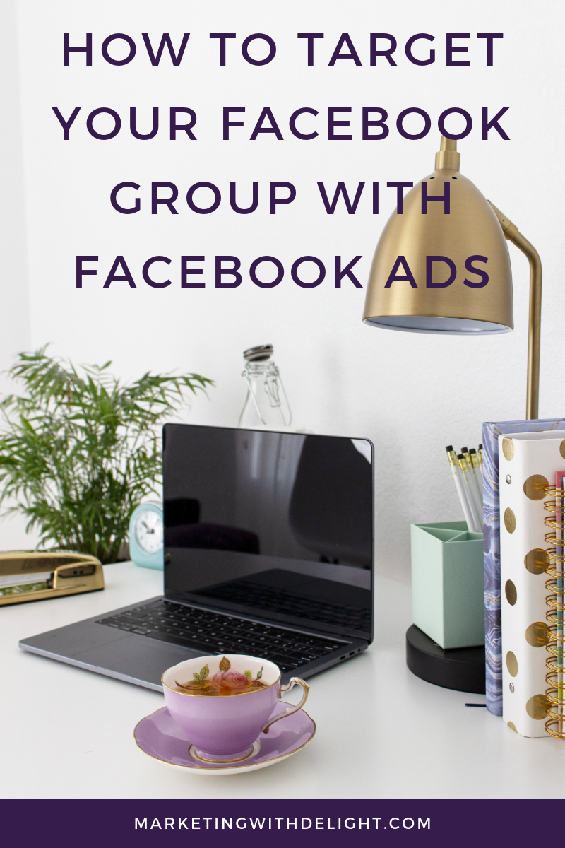 Looking to use Facebook ads to reach the members of your Facebook group? It's a little trickier than it seems! Facebook ad targeting to your Facebook group requires a couple of workarounds to get people from your group and into a custom audience that you can use with your Facebook ads. Click through to learn how on the blog! #facebookads #facebookadstips #facebookgroups #facebookadstargeting