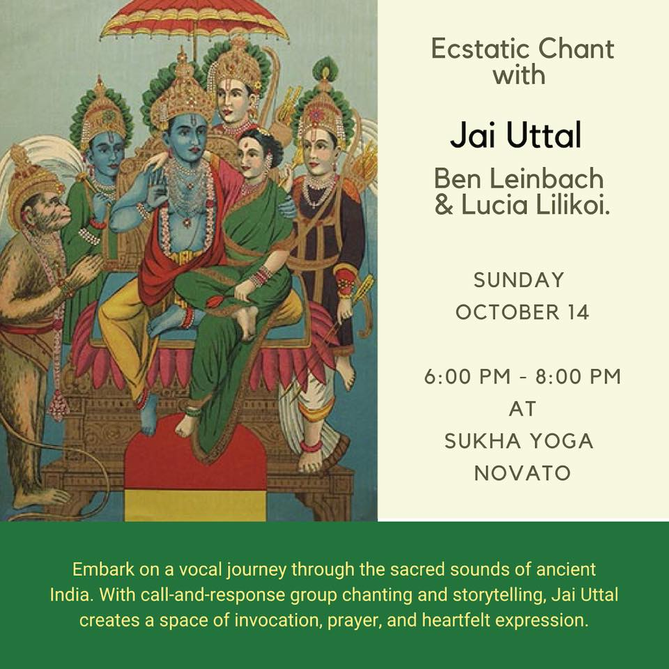 Join us for a special evening of Kirtan and Yoga! Excited to sing with Jai Uttal again.