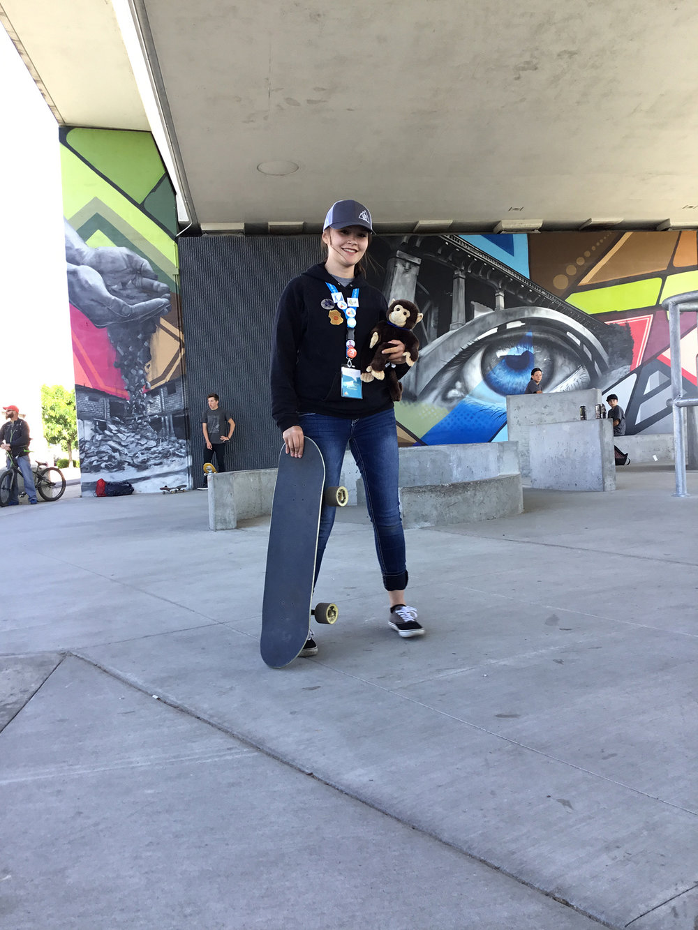 Niki, one of our very first PTECH students, at Rhodes Skate Park - Boise, ID